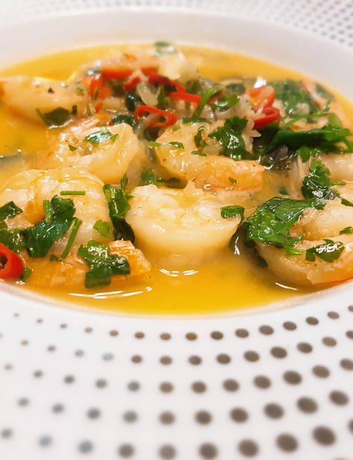 Shrimps in white wine