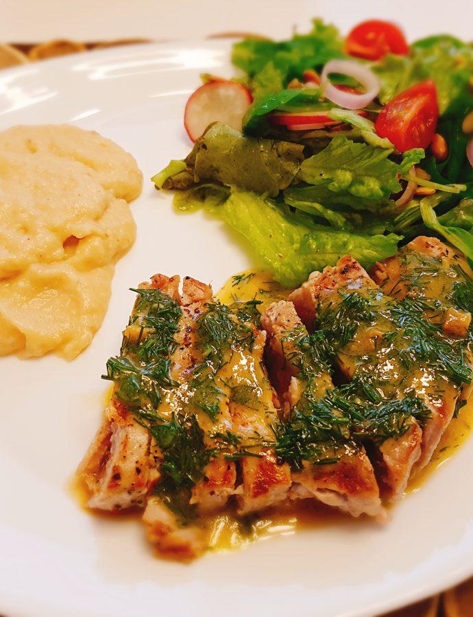 Stek z tuńczyka z puree gruszkowym
