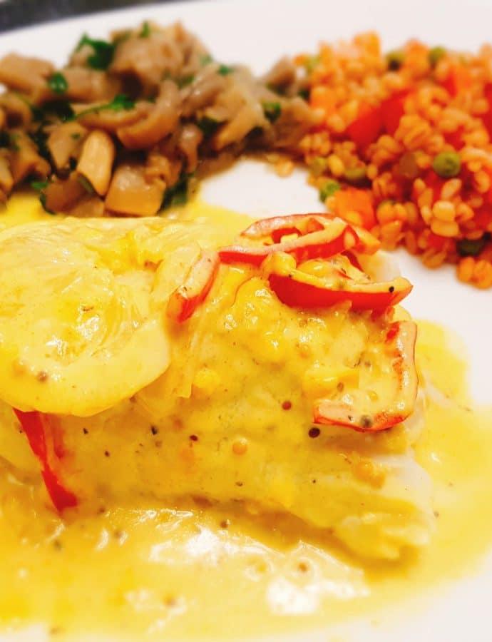 Cod in lemon-mustard sauce